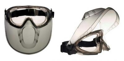 Gumipántos, szivacsos szemüveg + arcvédő 1.